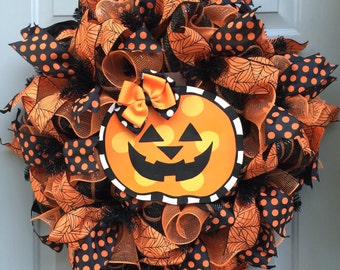 Halloween Pumpkin Deco Mesh Wreath, Pumpkin Wreath, Orange and Black Wreath