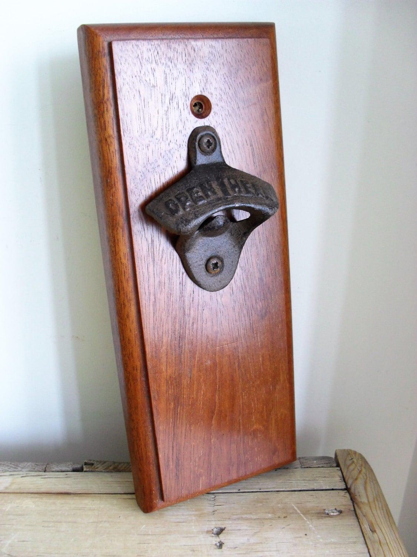 teak wall mounted bottle opener with magnet beer bottle opener. Black Bedroom Furniture Sets. Home Design Ideas