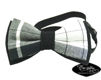 White and black baby Bow tie made in checked madras BS002, one size