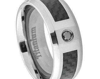 Titanium Wedding Ring, 0.07ct Black Diamond Ring, Titanium Wedding Ring with Black Carbon Fiber Inlay,Personalized Ring FREE Engraving,