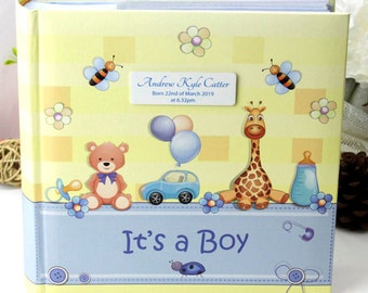 Baby Boy Photo Album with Personalised Plaque