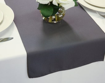 Charcoal Table Runner Polyester | Wedding Table Runners