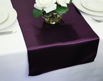 Plum Satin Table Runner | Wedding Table Runners