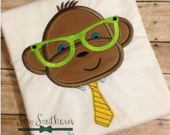 Mr Monkey Applique Design ~ Dressed up with Necktie and Glasses ~ Instant Download