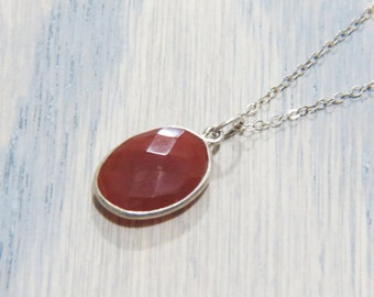 Carnelian Necklace - Sterling Silver Necklace - Gemstone Necklace