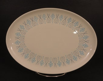 Vintage Taylor Smith & Taylor Adagio Pattern Platter Colorcraft  TST Mid Century Blue and Grey