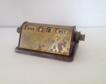 Mid Century Vintage Brass Perpetual Desk Calendar