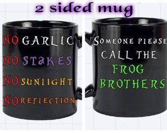 Two sided mug,halloween mug,personalized gift,personalized mug,the lost boys,tea cup,coffee mug,funny gift,unique gift,hot or cold,halloween