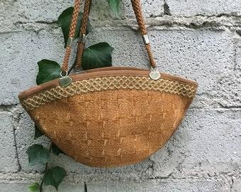 Bag Vintage/ 80s/ raffia/ double handles/ brown/ lined/ interior zip
