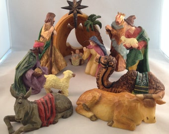 Vintage Nativity Scene Faux Wood Like Carved Wood 11 Pieces