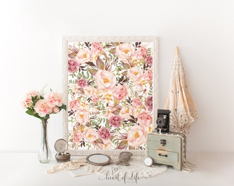Watercolor flowers printable art Colorful wall art Blush pink nursery decor Flower collage print Watercolor art Floral wall art Home decor