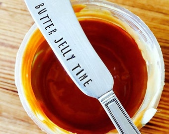 Peanut Butter Knife,  Jelly Knife, Stamped Butter Spreader, Housewarming Gift, Unique Gifts, Stamped Knife, Peanut Butter Jelly Time, Silver