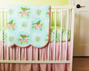 Scalloped Edge Baby Crib Set, Floral Crib Bedding, Heirloom Quilt for Baby, Toddler, Baby Girl, Up parasol, Mockingbird