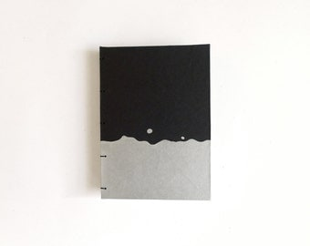 Silver Splash Journal / Blank Notebook / Hand Bound Coptic Book