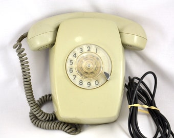 Vintage wall telephone / 70s rotary dial phone