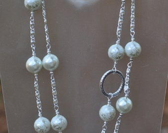 Extra Long Silver and White Pearl Necklace and Earring Set