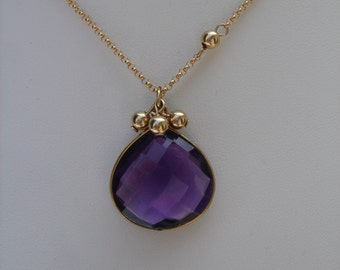 Hydro-Amethyst pendant 585 gold filled, beautiful design with balls