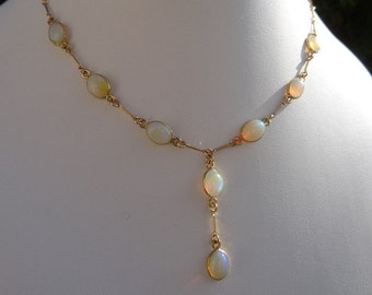 Opal Y necklace, chain, gold, 585 gold filled