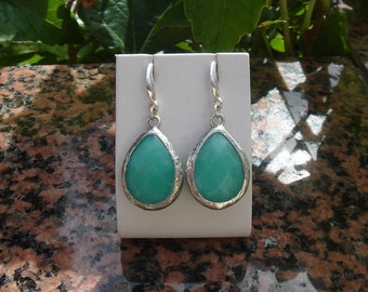 Earrings in 925 Silver and jade, elegant and very apart!