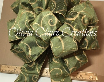 Green Sage Ribbon with Gold Pattern Holiday Bow, Christmas Bow, Gift Bow, Gift Basket, Christmas Tree Topper, Bow for Wreath, Holiday Decor.