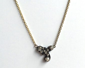 Antique Old Mine Cut Diamond Pendant Necklace, Repurposed, Oxidized Silver, 14K Yellow Gold