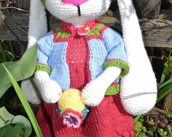 """Rabbit Tilda """"Grushenka"""" - Hand Knitted Toy - Stuffed Animal - Hand Knit Rabbit - Hand Knit Soft Toy-Knit Bunny"""