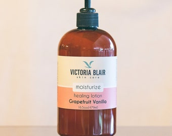 MOISTURIZE - GRAPEFRUIT VANILLA Healing Lotion / with shea butter, emu oil, jojoba oil and vitamin e