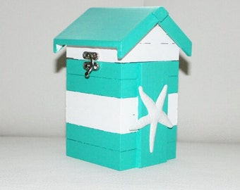 Wooden boxes, jewelry boxes, beach house, Caskets, beach house with seashell