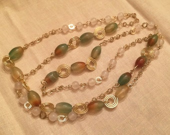 SALE-Delicately handmade agate necklace/ All hand wrapped wire chain/ natural agate beads/ hammered gold wire