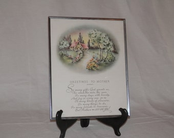 Mother's Day Vintage Greetings Framed Religious Sentiment Made in USA Pru-lesco Inc. Rhode, Island