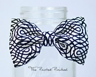 Black Swirls on White Patterned Bow, Bow Tie, Pocket Square