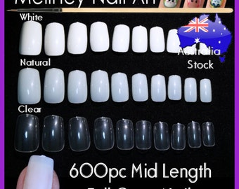 600pc Mid Length Full Cover Square False Fake Nail Tips Gel Acrylic Fingernail Manicure DIY fake nails long