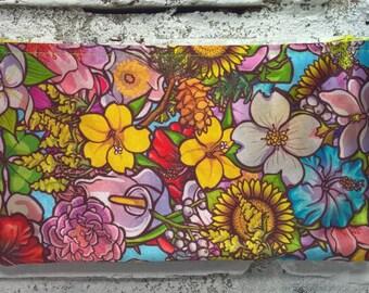 Floral Satin Print Pouch
