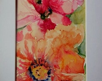 Flower watercolor, original watercolor, mat included.