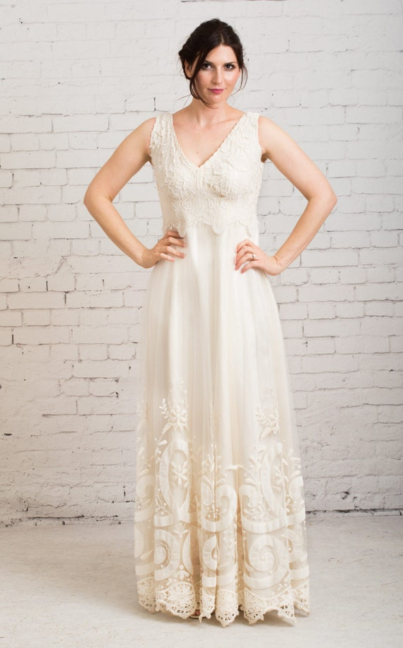 Rustic wedding dress boho wedding dress casual wedding for Boho casual wedding dress