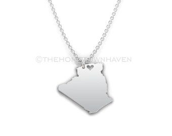 Algeria Necklace - Algeria pendant, Algeria outline necklace, I love Africa