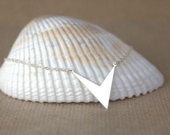 Chevron Necklace - SImple Geometric Silver Chevron, minimalist jewelry, 100% sterling silver, chevron jewelry