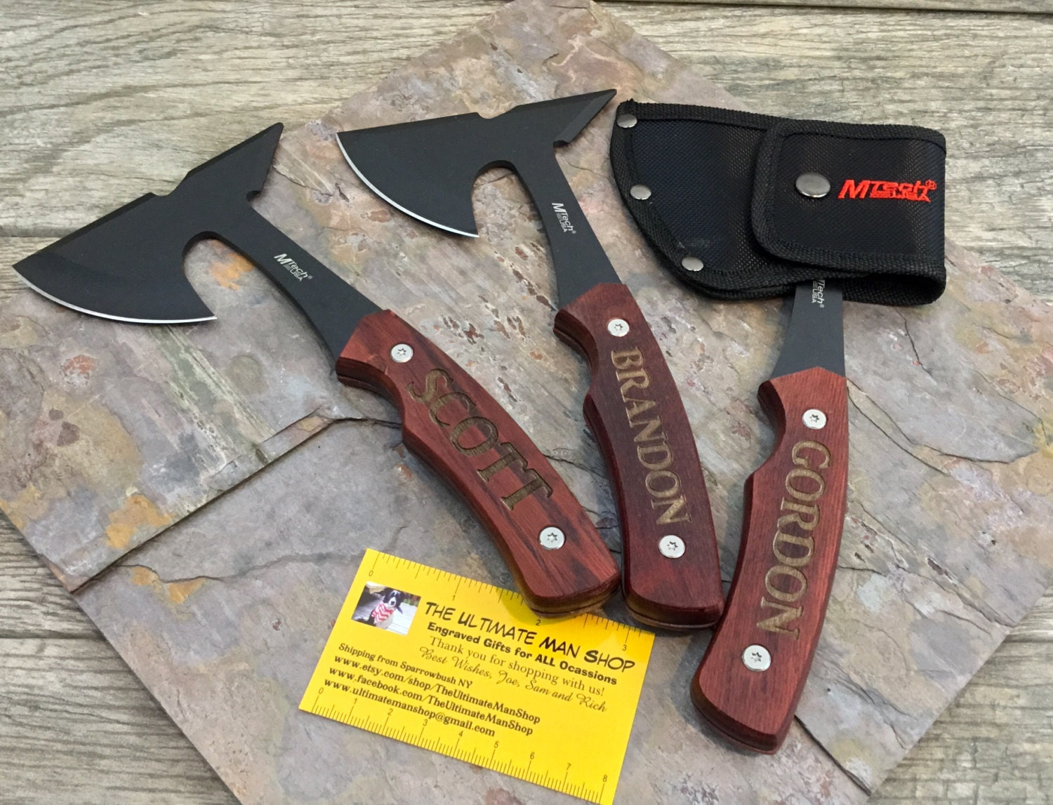 Engraved Mini Hatchet Axe And Sheath Cool Mens Gift Great