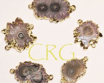 Gold Plated Amethyst Stalactite Connector ( petite ) CON106