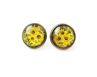 Sunflowers - small stud post earrings, red, yellow and green earrings, 12mm glass dome photo cabochon