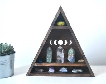 Triangle shelf, Geometric shelf, crystal display - Moon phases