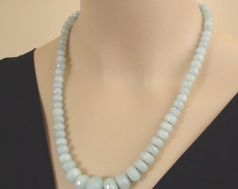 Aquamarine and  Sterling Silver Necklace - Graduated Beaded Necklace - Hand Made by Kotty