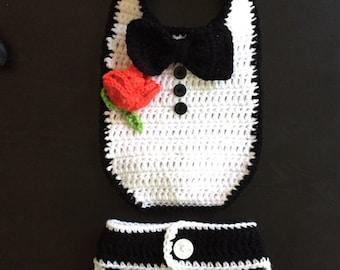 Baby Boy Crochet Tuxedo Bib and Diaper Cover Photo Prop Set