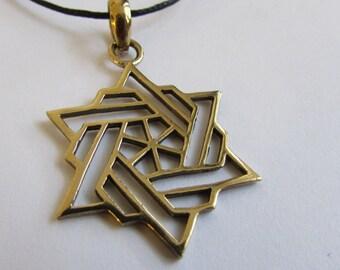 Star brass pendant  Star of David On Wax Cord Judaica Adjustable Unisex Free UK Shipping + Gift Bag