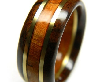 Handsome Walnut and Cherry Wood Wedding Band, 5th Anniversary, Fifth Anniversary, Wood Anniversary, For Him, Men's Gift, Man's Ring,