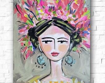Woman Print portrait impressionist modern abstract girl prints large