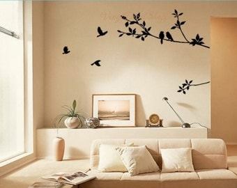 Birds on a Branch Wall Decal, Bird Wall Decal, Tree Decal, Branch Decal, Large Wall Decal, Living Room Decor, Living Room Decal, Wall Decal