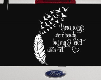 Heart wings decal etsy for Your wings were ready but my heart was not tattoo