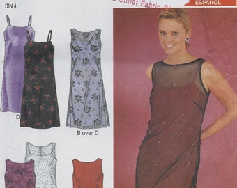 Slip style spaghetti-strap dress and sheer sleeveless overdress pattern in Misses' sizes 6-16  New Look 6923  UNCUT & FF  K0619