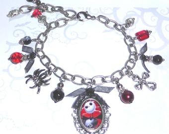 Jack Skellington Silver Crystal Charm Bracelet Nightmare Before Christmas ~ Tim Burton Cross Skull Goth Costume Halloween Jewelry Jewellery